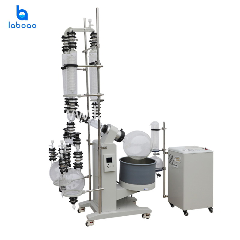 20L rotary evaporator with double condenser and receiving flasks